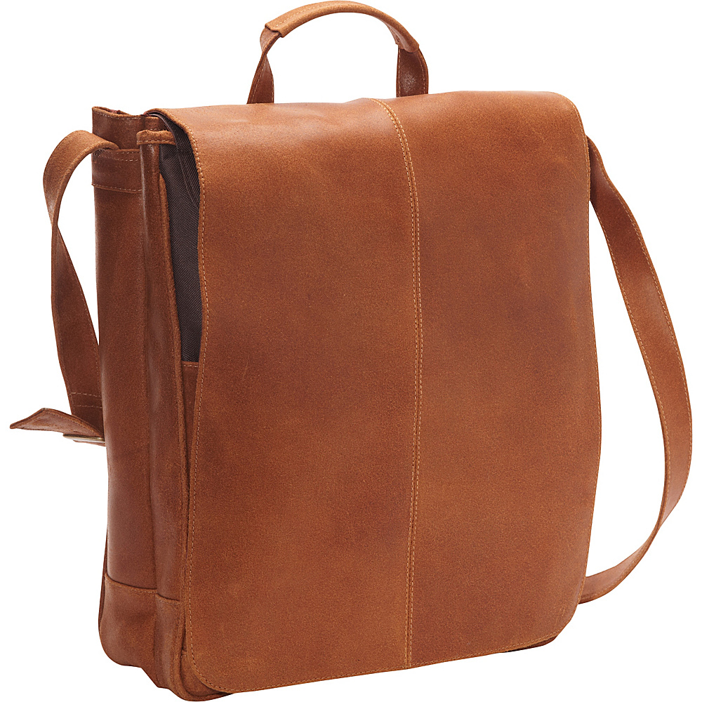 Le Donne Leather Distressed Leather 17 Laptop Messenger Tan - Le Donne Leather Messenger Bags - Work Bags & Briefcases, Messenger Bags