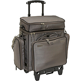 8-in-1 Rolling Craft Carry-All with All Terrain Cart Brown