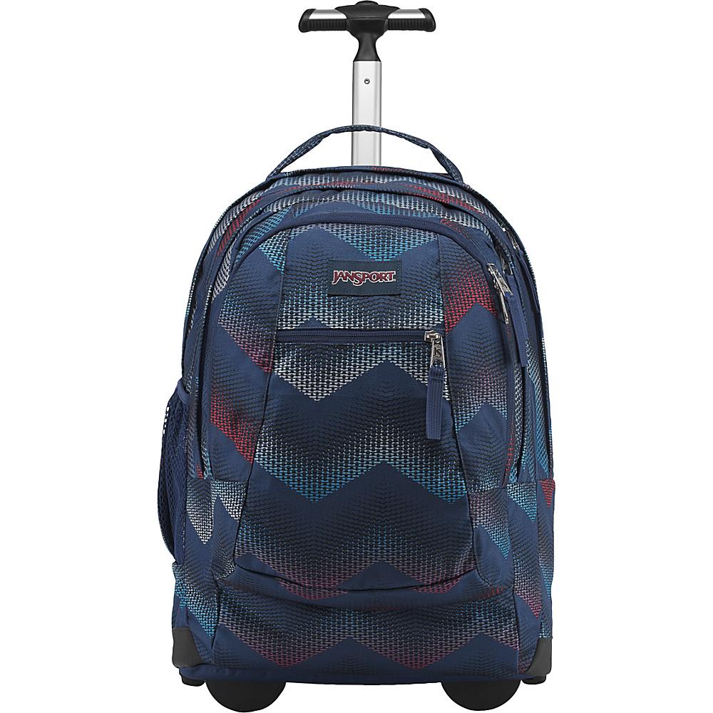 JanSport Driver 8 Rolling Backpack Matrix Chevron Navy - JanSport Rolling Backpacks
