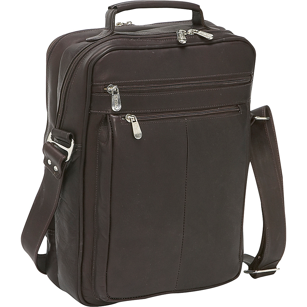 Piel Laptop Shoulder Bag - Chocolate - Work Bags & Briefcases, Non-Wheeled Business Cases