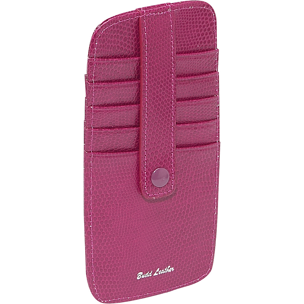 Budd Leather Flat 10 Credit Card Stacker Fuchsia