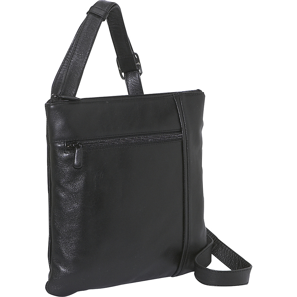 Derek Alexander NS Inset Top Zip - Black - Handbags, Leather Handbags