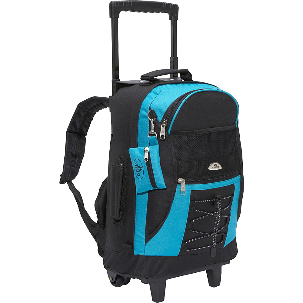 Everest Wheeled Backpack with Bungee Cord Turquoise / Black - Everest Rolling Backpacks - Backpacks, Rolling Backpacks