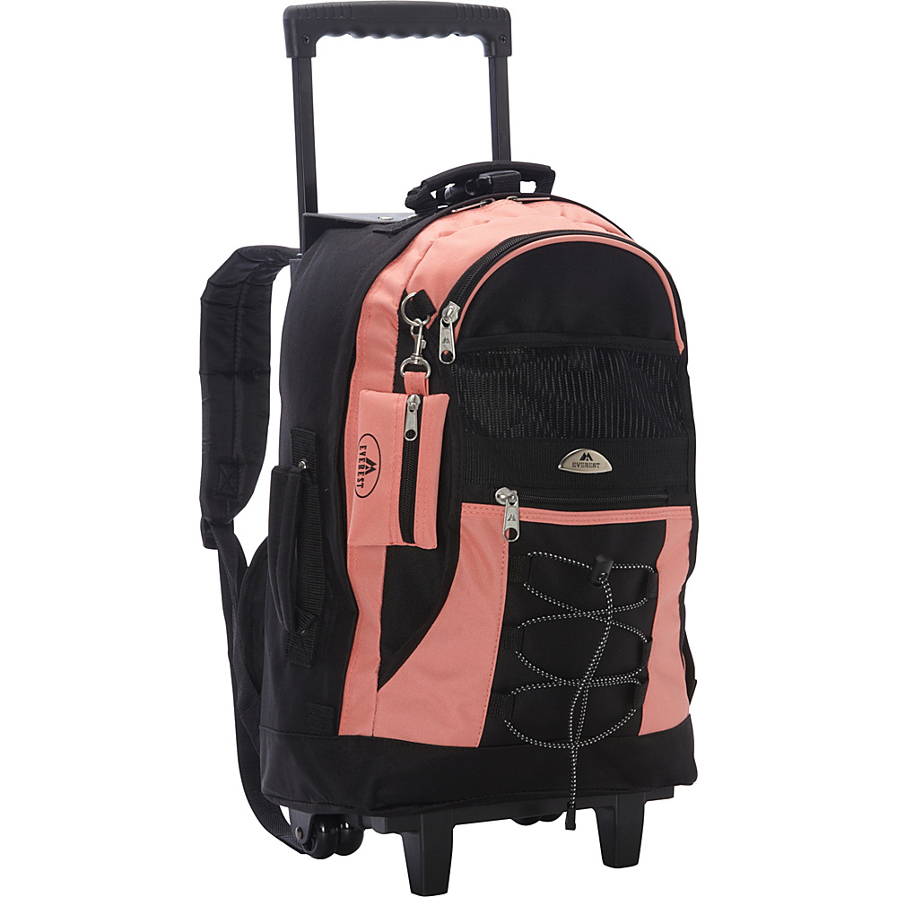Everest Wheeled Backpack with Bungee Cord Coral - Everest Rolling Backpacks - Backpacks, Rolling Backpacks