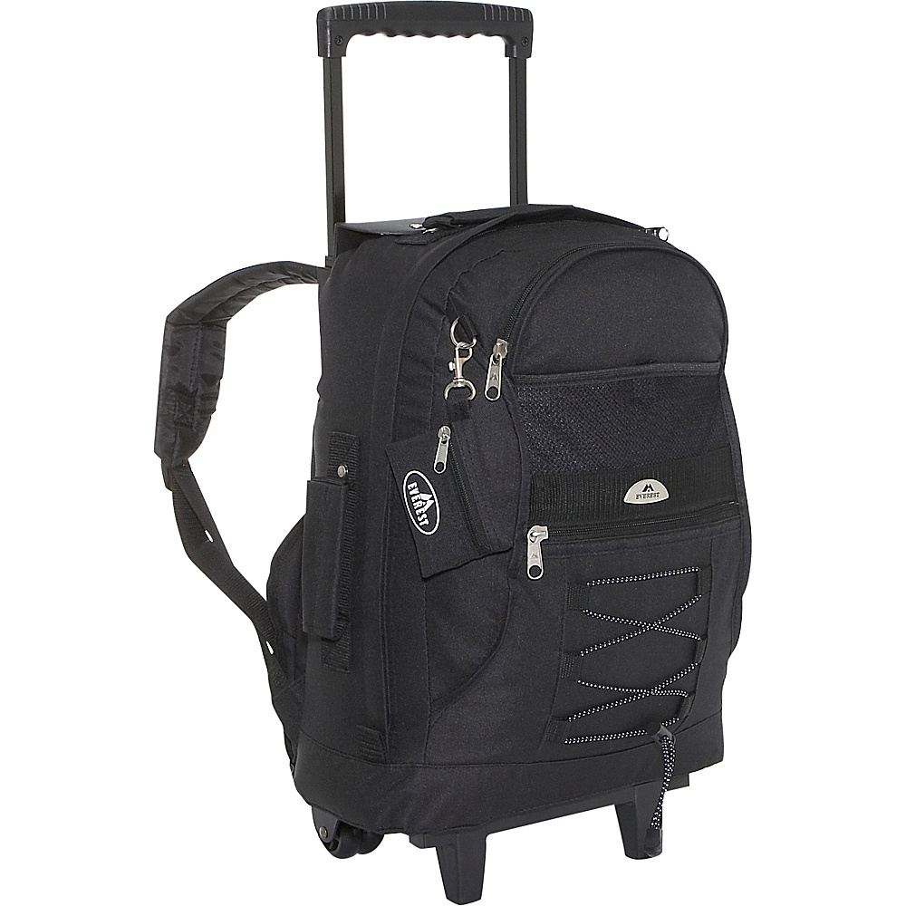 Everest Wheeled Backpack with Bungee Cord - Black - Backpacks, Rolling Backpacks