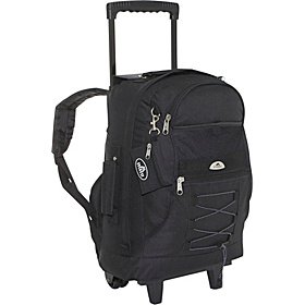 Wheeled Backpack with Bungee Cord Black