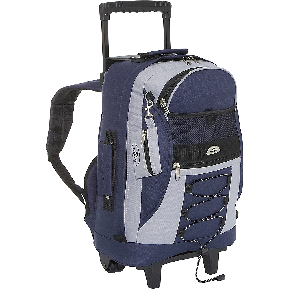 Everest Wheeled Backpack with Bungee Cord - Navy/Gray - Backpacks, Rolling Backpacks