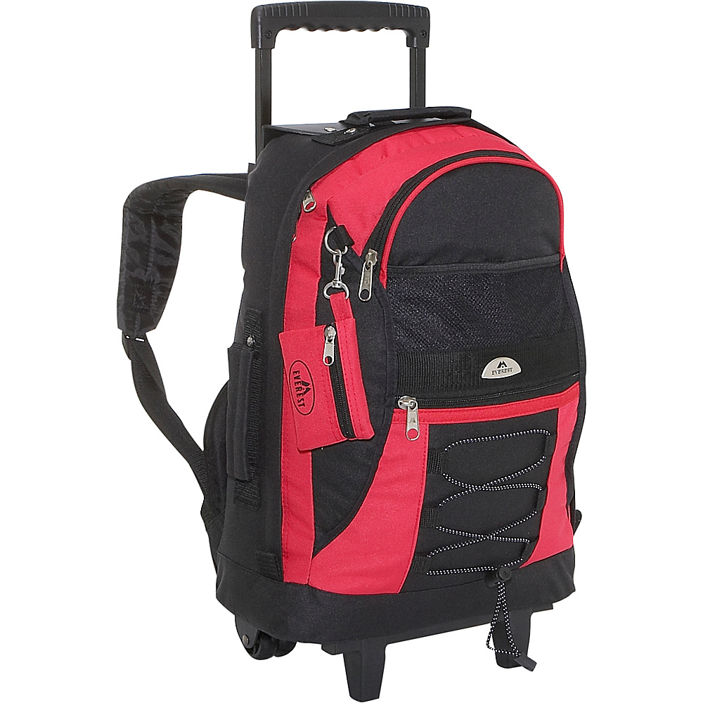 Everest Wheeled Backpack with Bungee Cord - Red/Black - Backpacks, Rolling Backpacks