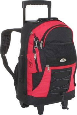 everest wheeled backpack with bungee cord redblack