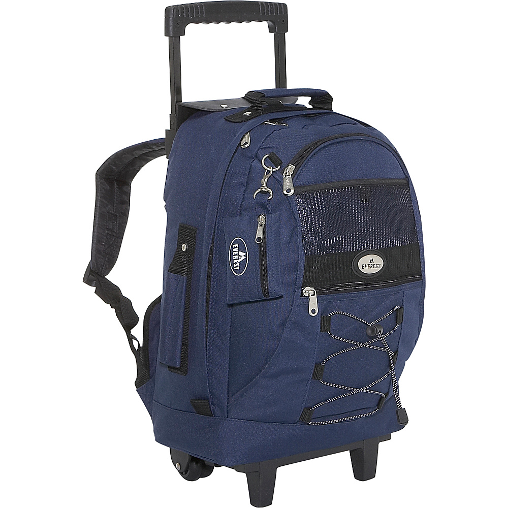 Everest Wheeled Backpack with Bungee Cord - Navy - Backpacks, Rolling Backpacks