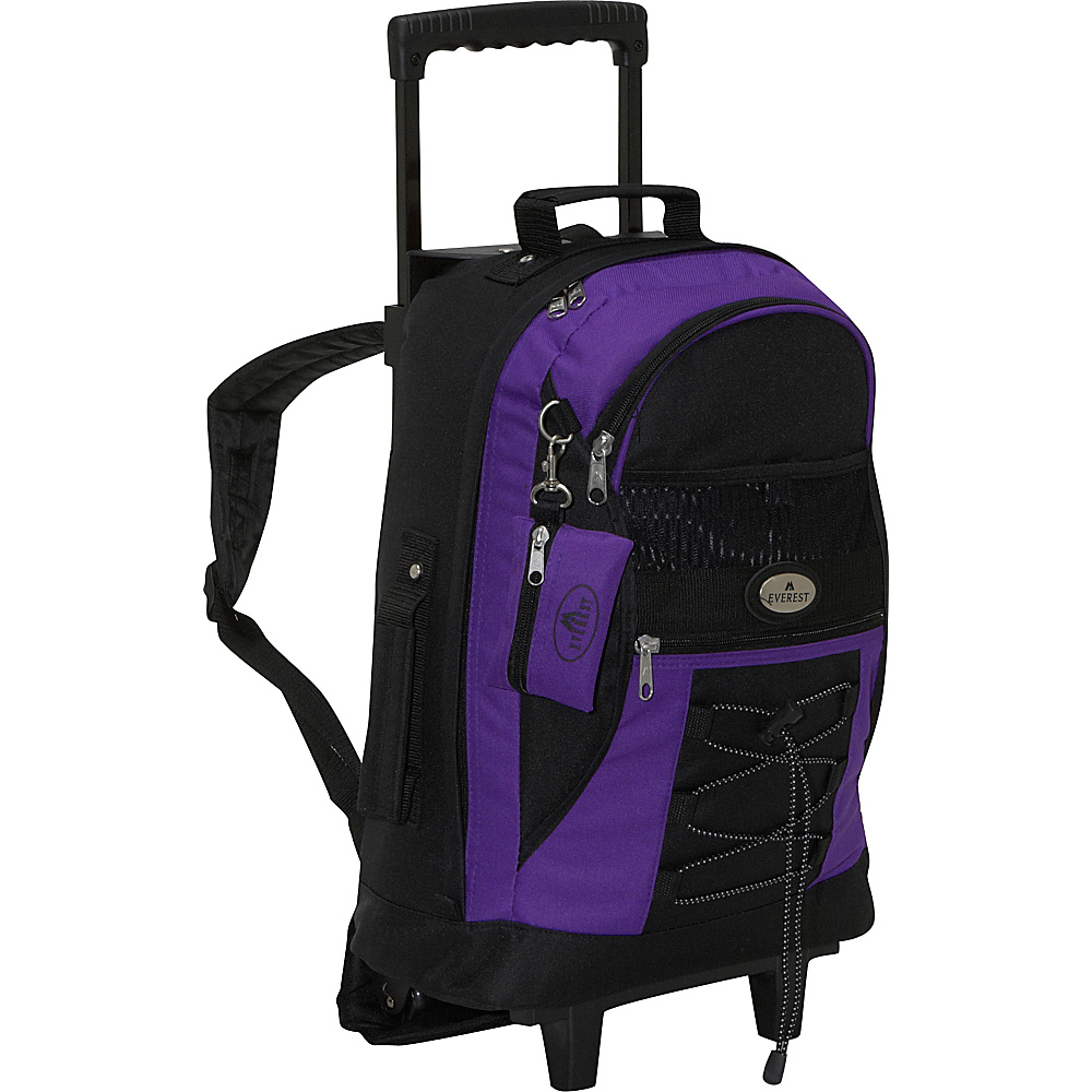 Everest Wheeled Backpack with Bungee Cord - Dark Purple - Backpacks, Rolling Backpacks
