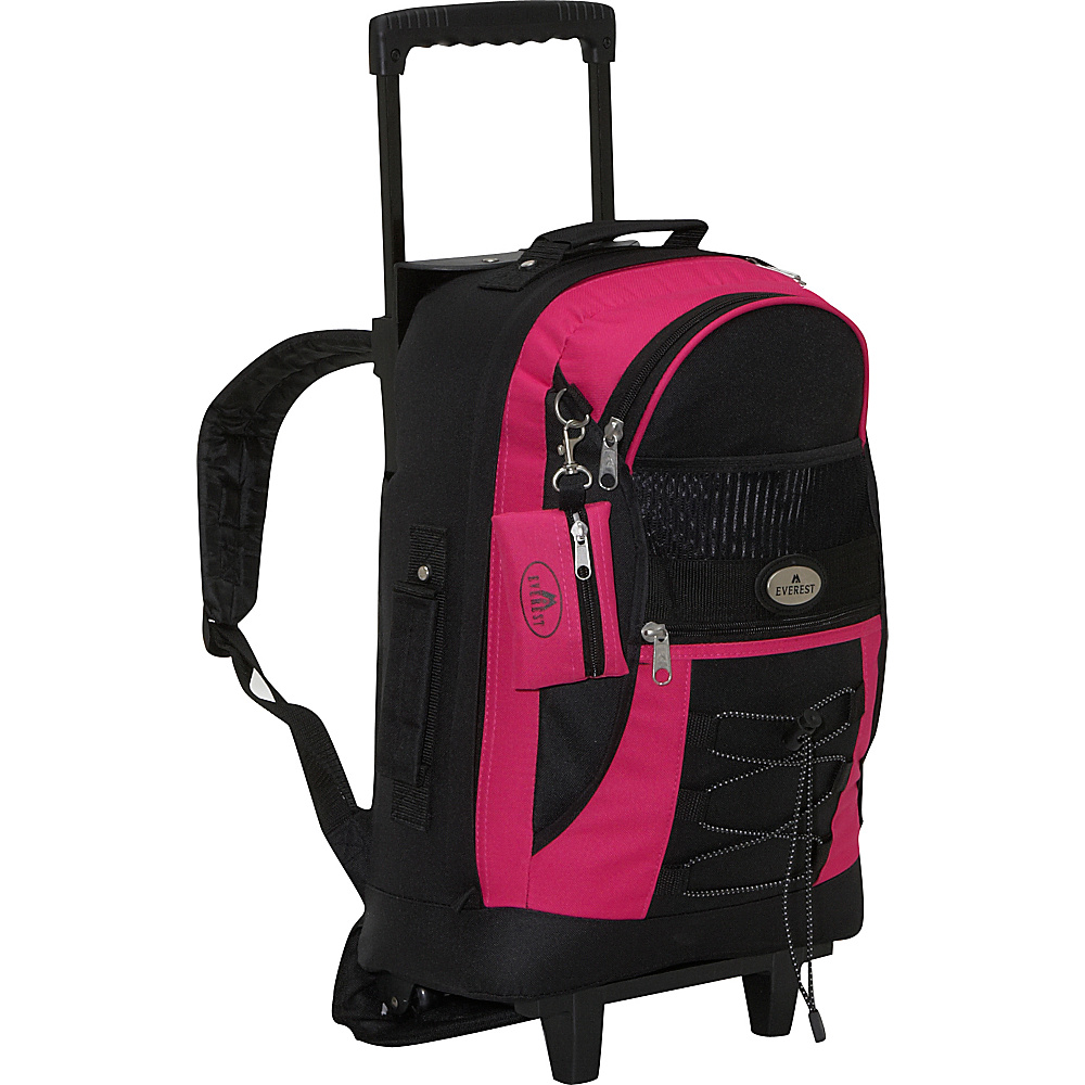 Everest Wheeled Backpack with Bungee Cord - Hot Pink - Backpacks, Rolling Backpacks