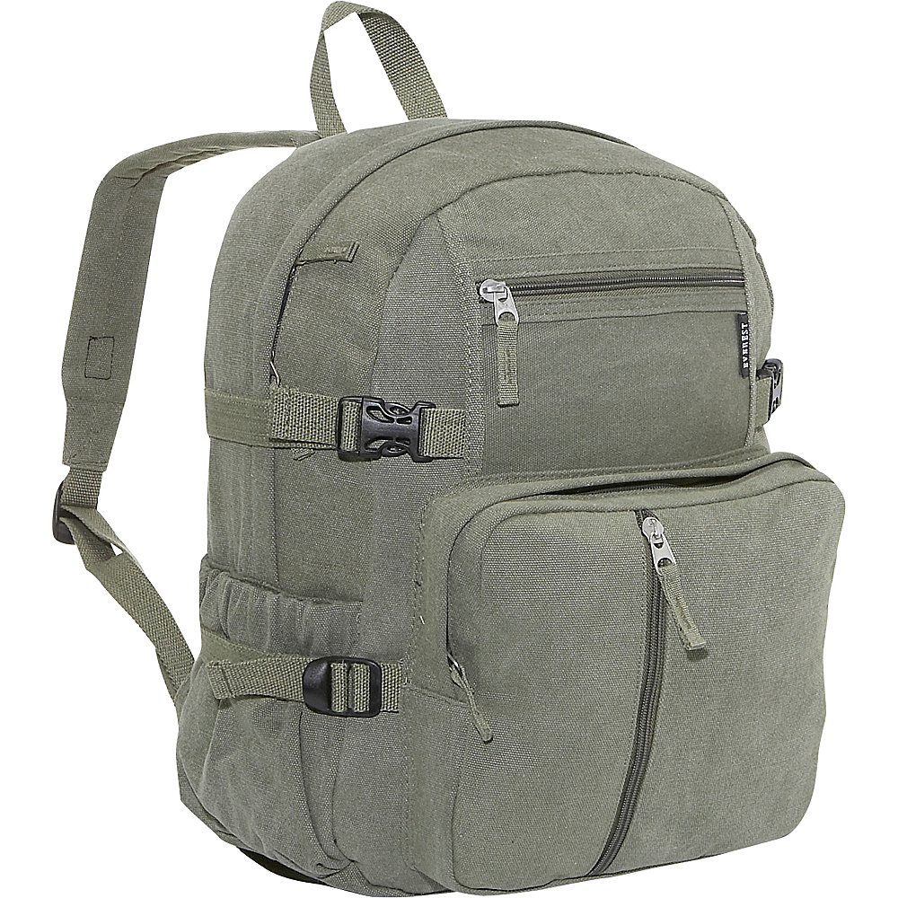 Everest Cotton Canvas Medium Backpack - Olive - Backpacks, Everyday Backpacks