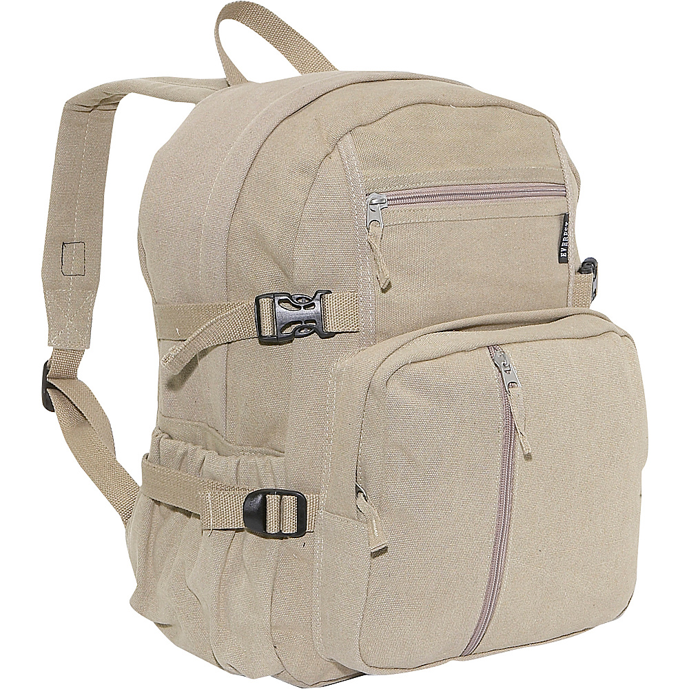 Everest Cotton Canvas Medium Backpack - Khaki - Backpacks, Everyday Backpacks