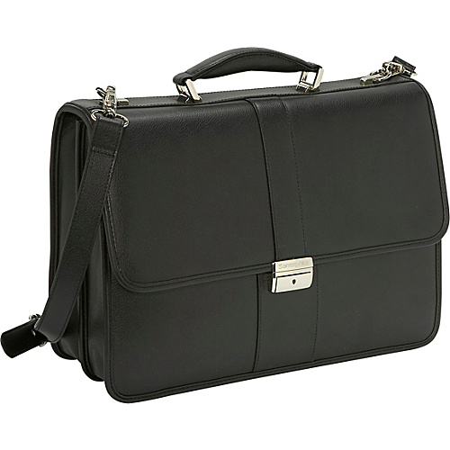 Samsonite Leather Flapover Briefcase - Black
