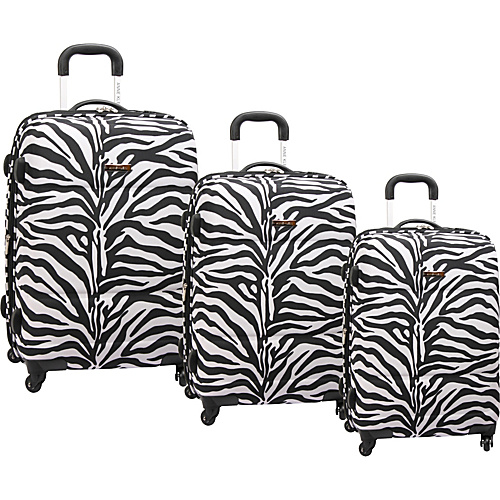 Anne Klein Luggage Around Town 3 Piece Spinner Set Black/White Animal Print - Anne Klein Luggage Luggage Sets