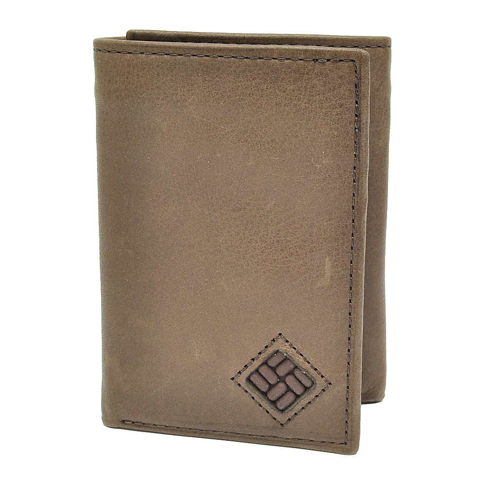 Columbia Trifold Wallet with Interior Zipper Brown
