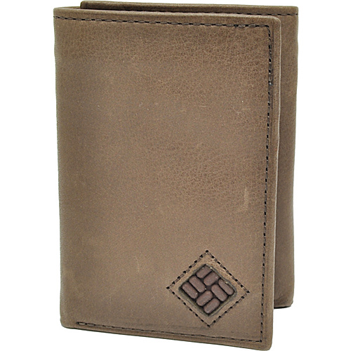 Columbia Trifold Wallet with Interior Zipper - Brown