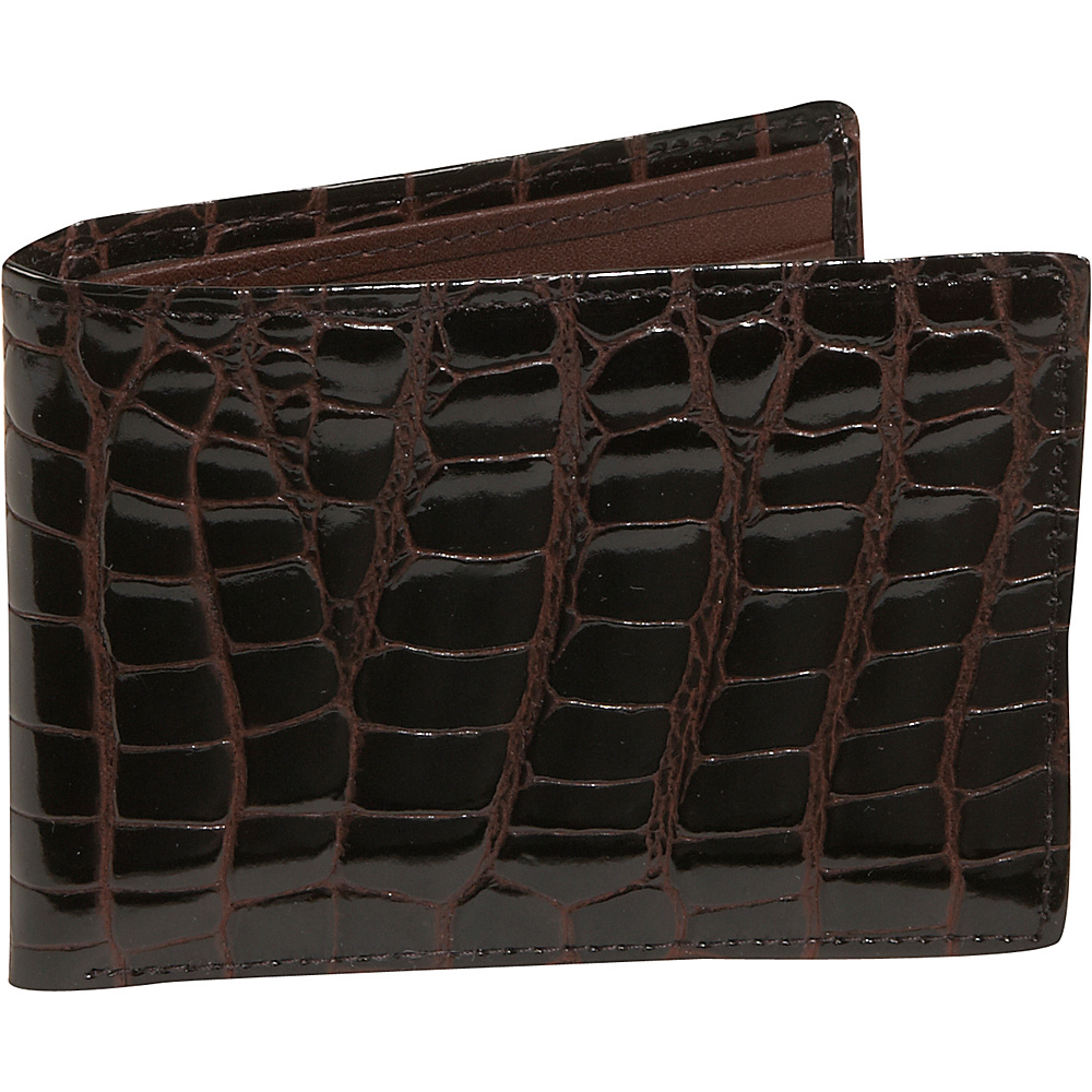 Budd Leather Crocodile Bidente Wallet with Passcase - Work Bags & Briefcases, Men's Wallets