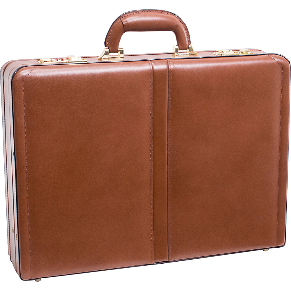 McKlein USA Harper Leather Expandable Attache Case Brown - McKlein USA Non-Wheeled Business Cases - Work Bags & Briefcases, Non-Wheeled Business Cases