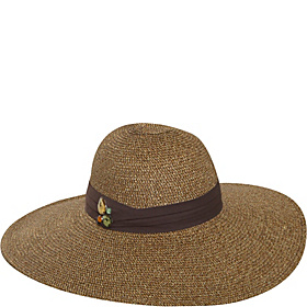 Fancy Paper Straw Floppy Hat Brown/Mix