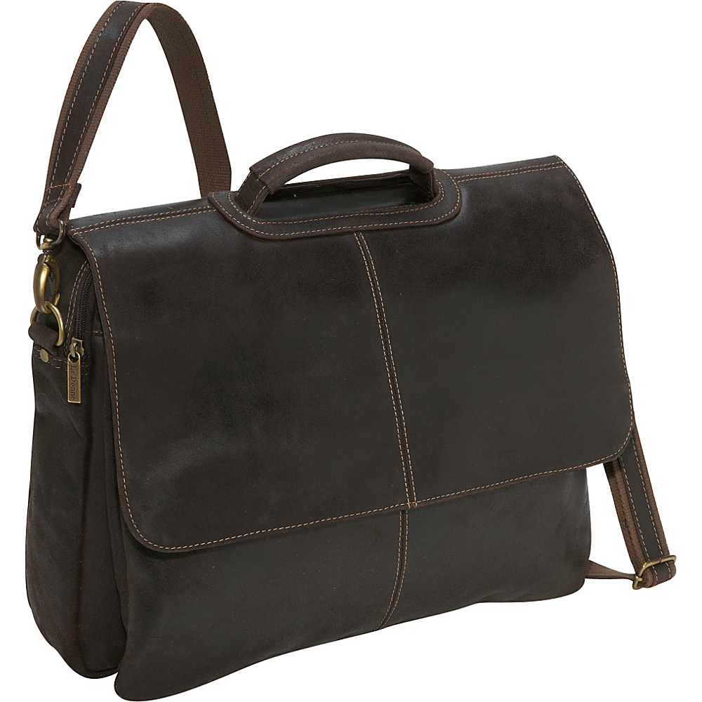 Le Donne Leather Distressed Leather Flap Over Brief - Work Bags & Briefcases, Non-Wheeled Business Cases