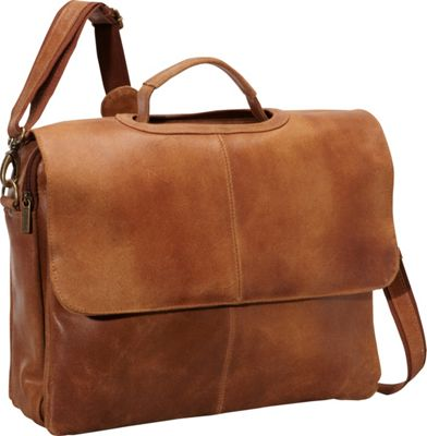 Le Donne Leather Distressed Leather Flap Over Brief Tan - Le Donne Leather Non-Wheeled Business Cases