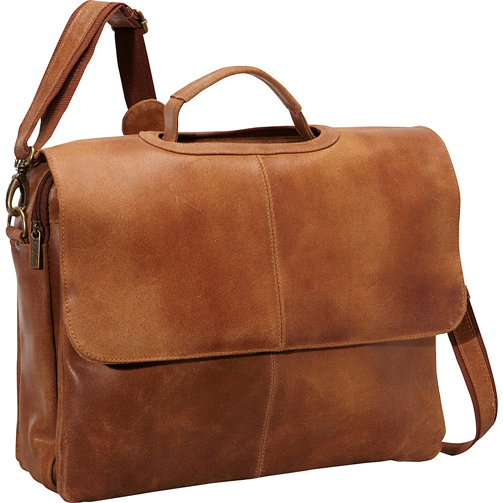 Le Donne Leather Distressed Leather Flap Over Brief Tan - Le Donne Leather Non-Wheeled Business Cases - Work Bags & Briefcases, Non-Wheeled Business Cases