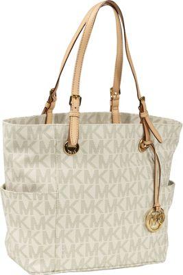 MICHAEL Michael Kors Jet Set Item E/W Signature Tote Handbag Vanilla - MICHAEL Michael Kors Designer Handbags