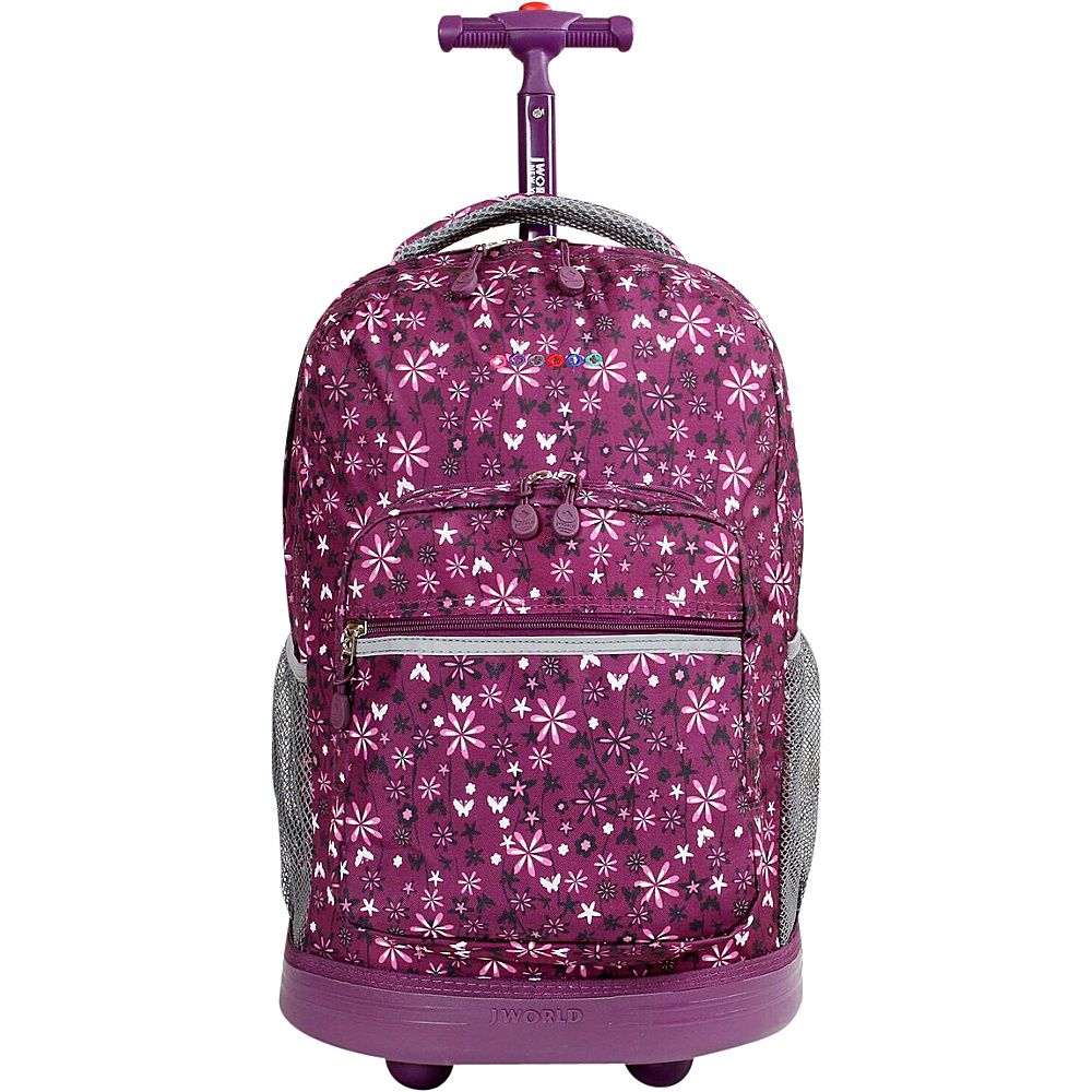 J World Sunrise Rolling Backpack - Garden Purple