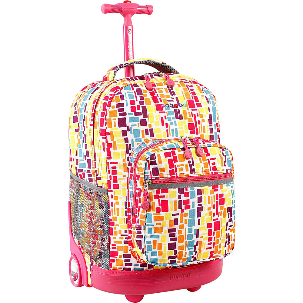 J World Sunrise Rolling Backpack - Squares Neon