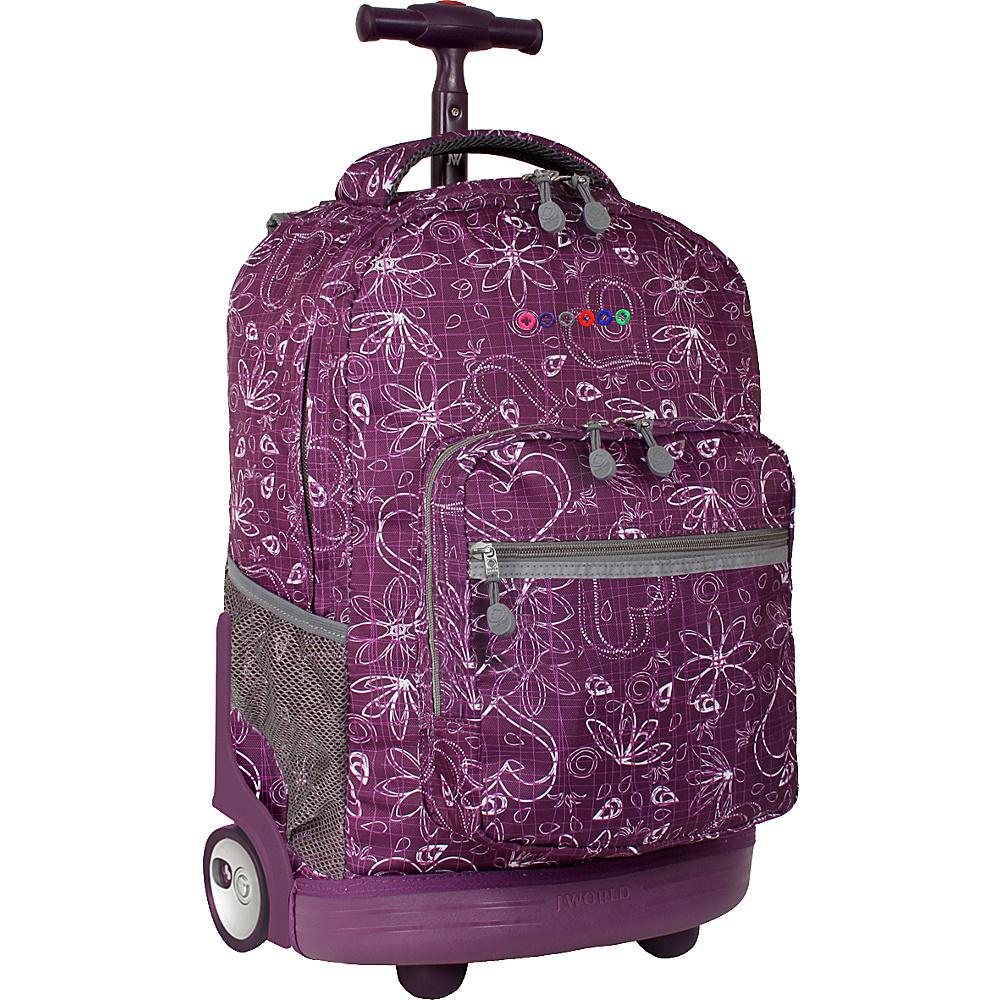 J World Sunrise Rolling Backpack - Love Purple - Backpacks, Rolling Backpacks