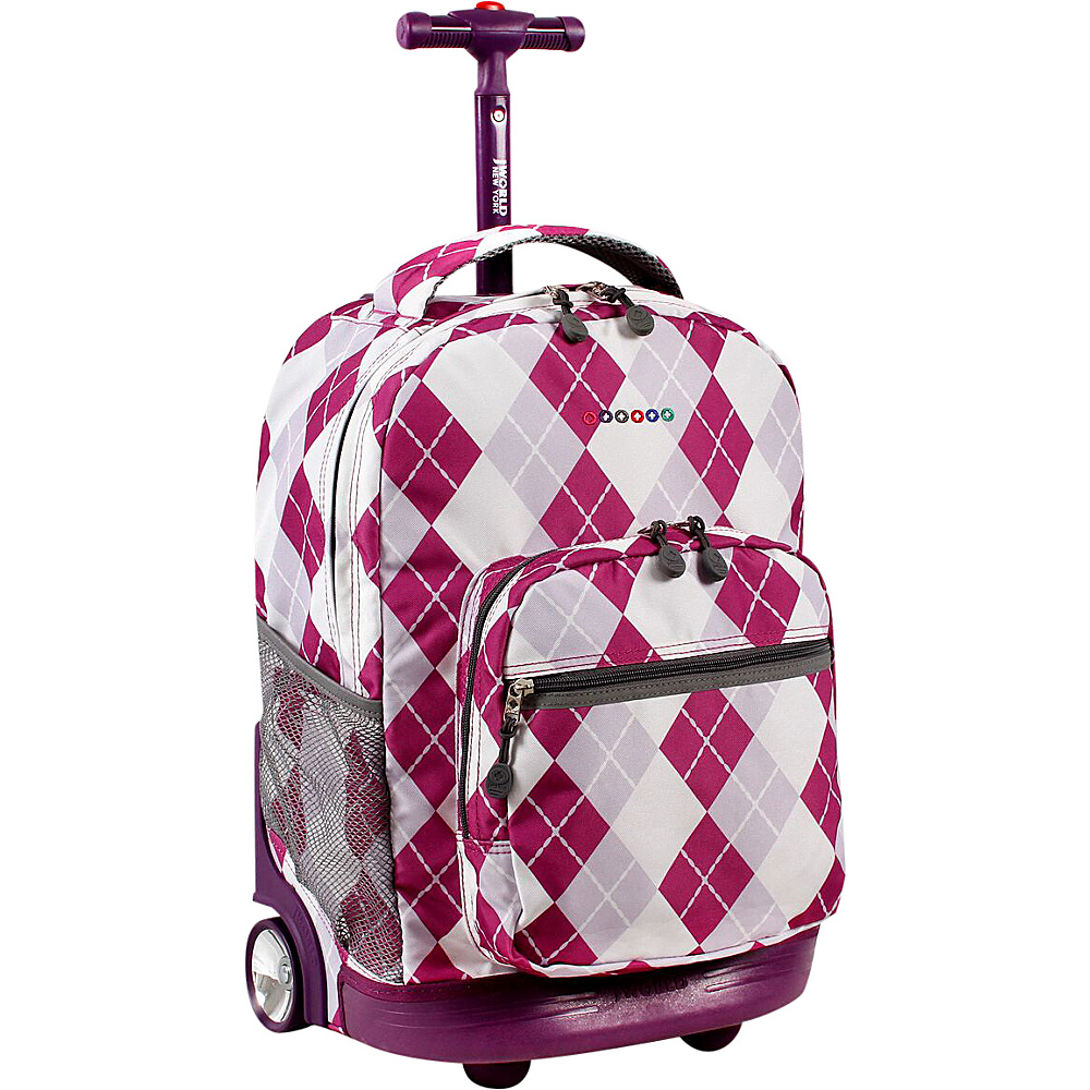 J World New York Sunrise Rolling Backpack - 18 Argyle-Purple - J World New York Rolling Backpacks - Backpacks, Rolling Backpacks