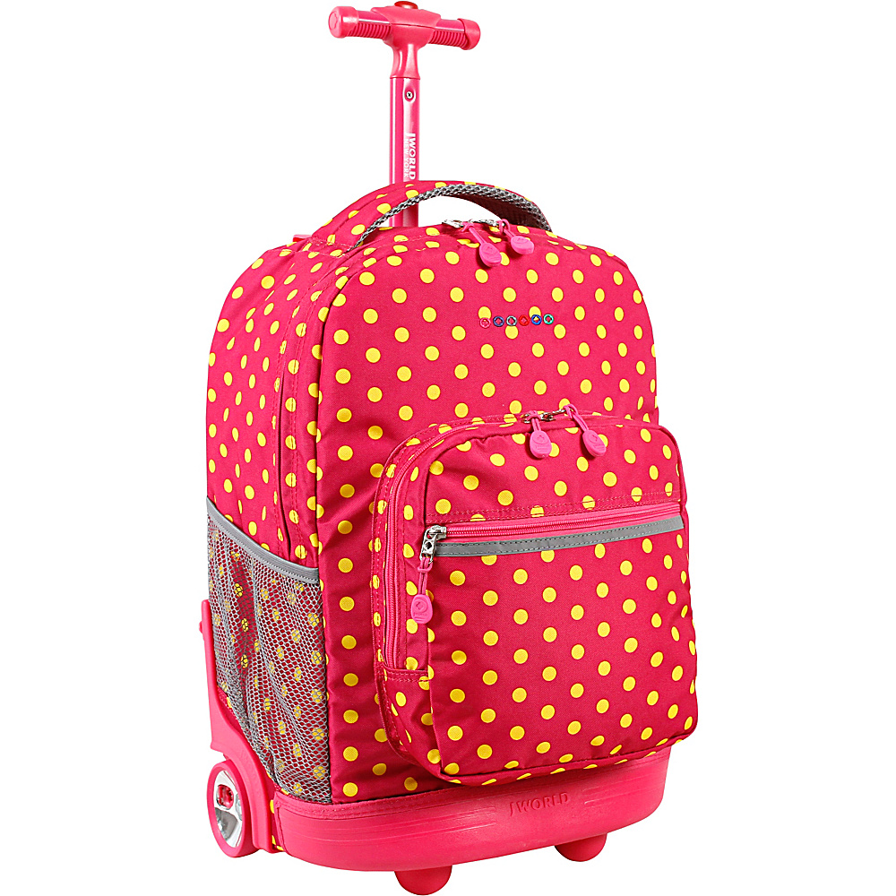 J World New York Sunrise Rolling Backpack - 18 Pink Buttons - J World New York Rolling Backpacks - Backpacks, Rolling Backpacks