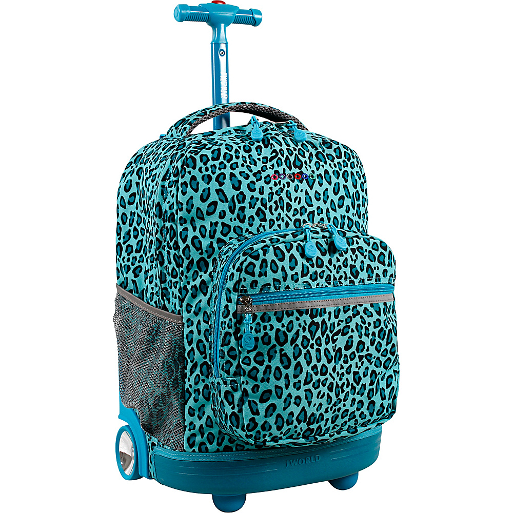 J World New York Sunrise Rolling Backpack - 18 Mint Leopard - J World New York Rolling Backpacks - Backpacks, Rolling Backpacks