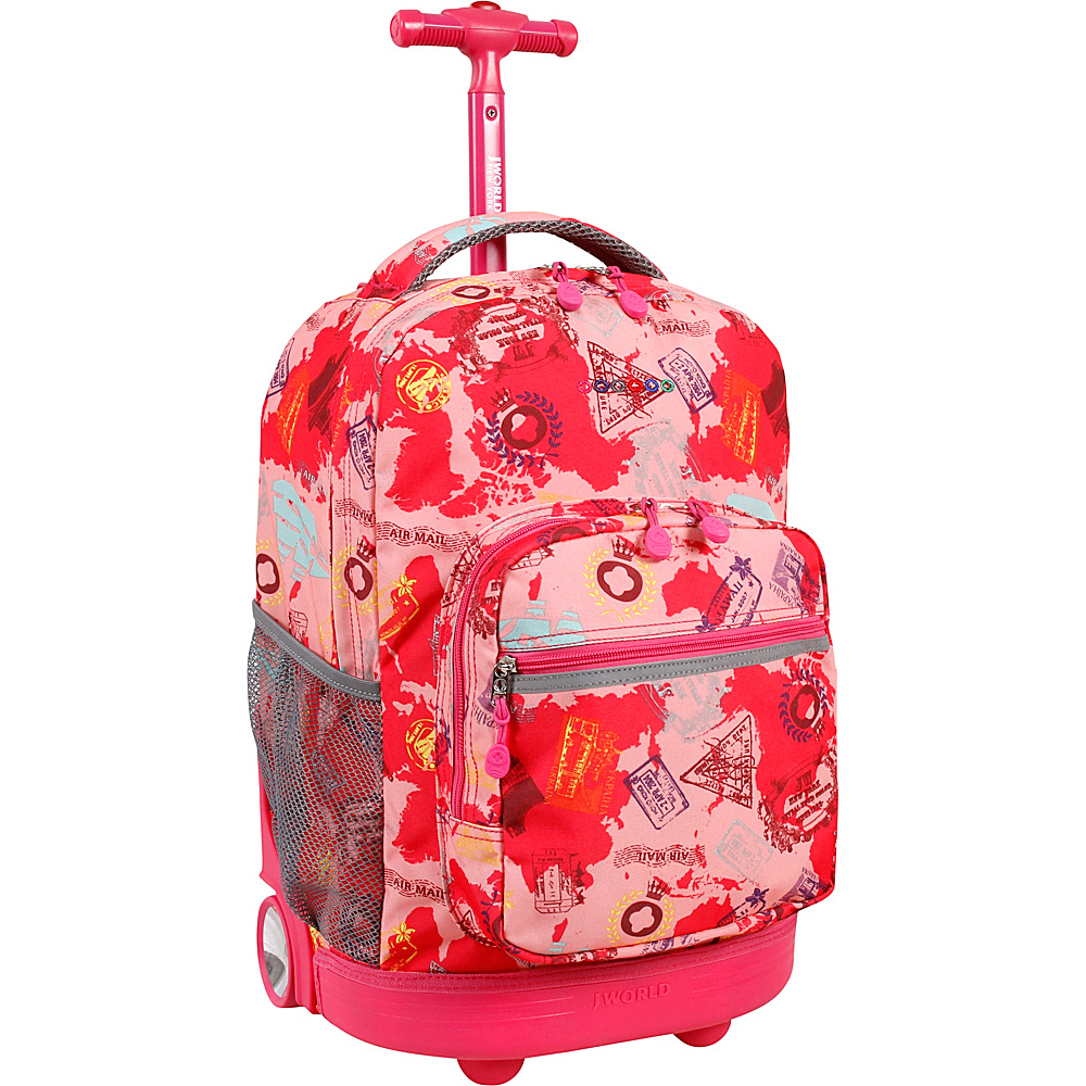 J World New York Sunrise Rolling Backpack - 18 Pink Atlas - J World New York Rolling Backpacks - Backpacks, Rolling Backpacks