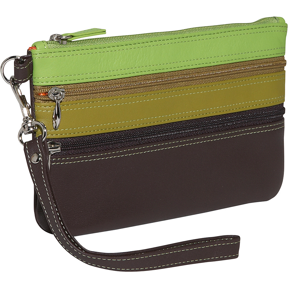BelArno Medium Trizip Multi Color Clutch in Black