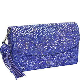 Shagreen Flap Clutch Wallet Violet