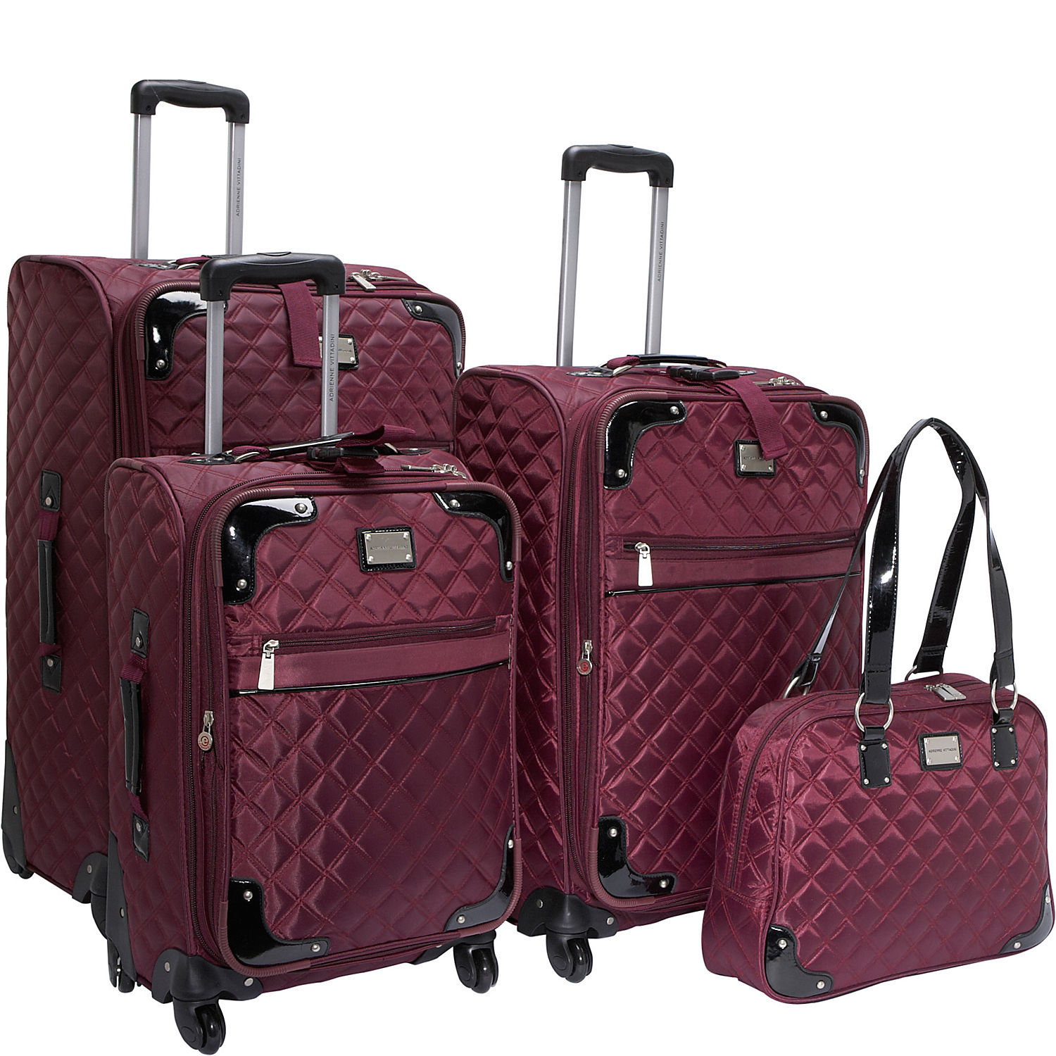 Adrienne Vittadini Quilted 4 Pc Spinner Luggage Set