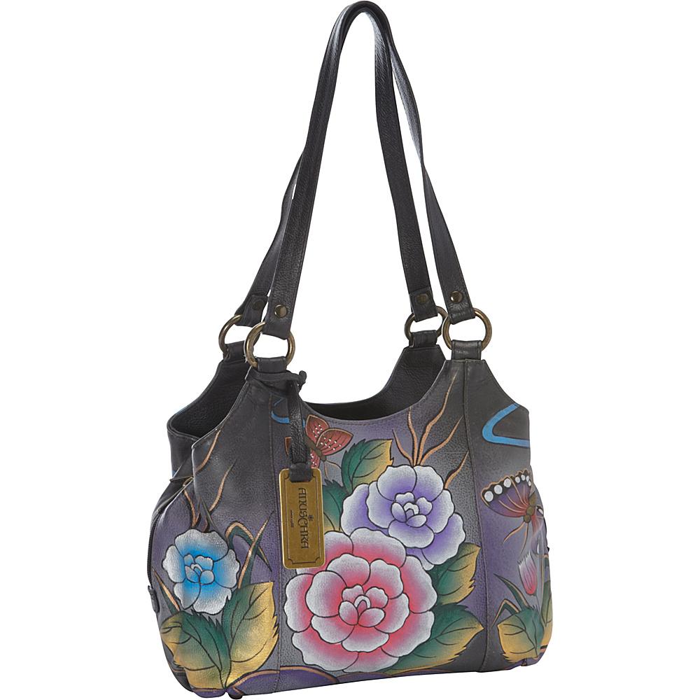 Anuschka Triple Compartment Medium Satchel Antique Rose Pewter - Anuschka Leather Handbags