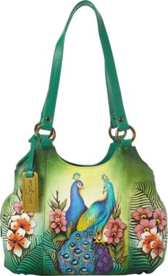 Anuschka Triple Compartment Medium Satchel Passionate Peacocks - Anuschka Leather Handbags
