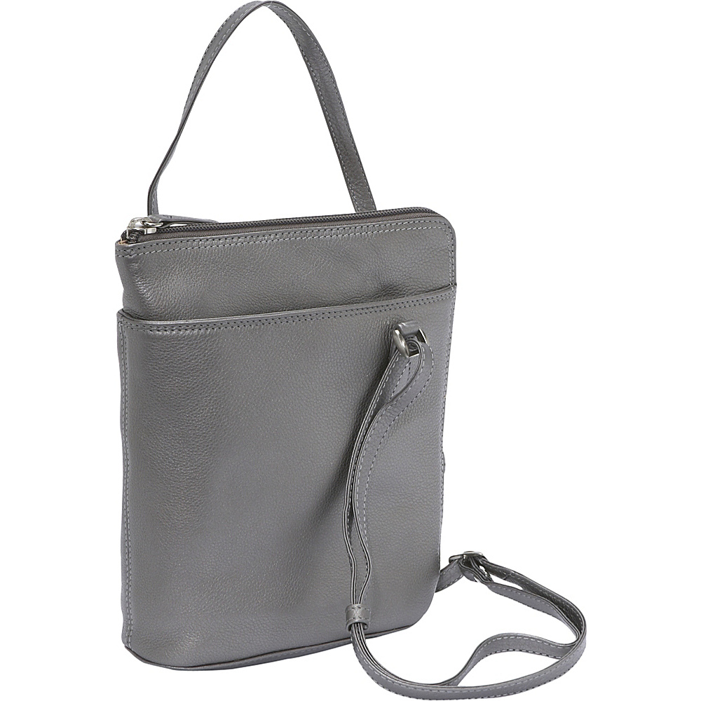 Derek Alexander NS Two Sided Zip - Silver - Handbags, Leather Handbags