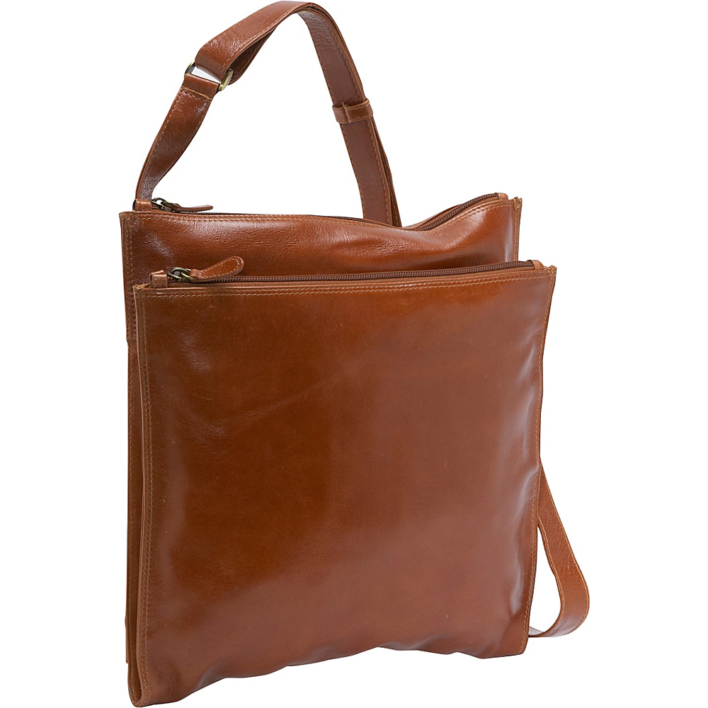 Derek Alexander Square Shoulder Bag - Tan - Handbags, Leather Handbags