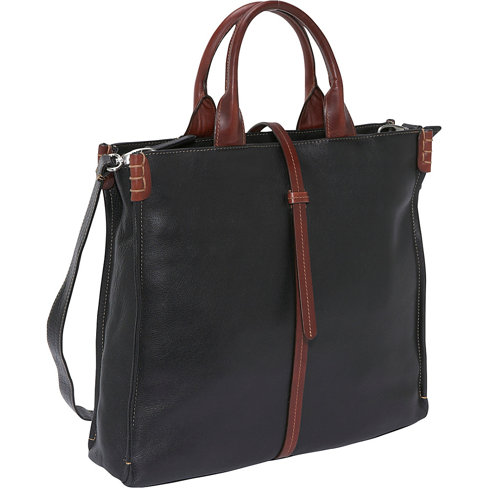 Derek Alexander 3 Comp Large Top Zip - BLACK/BRANDY - Handbags, Leather Handbags