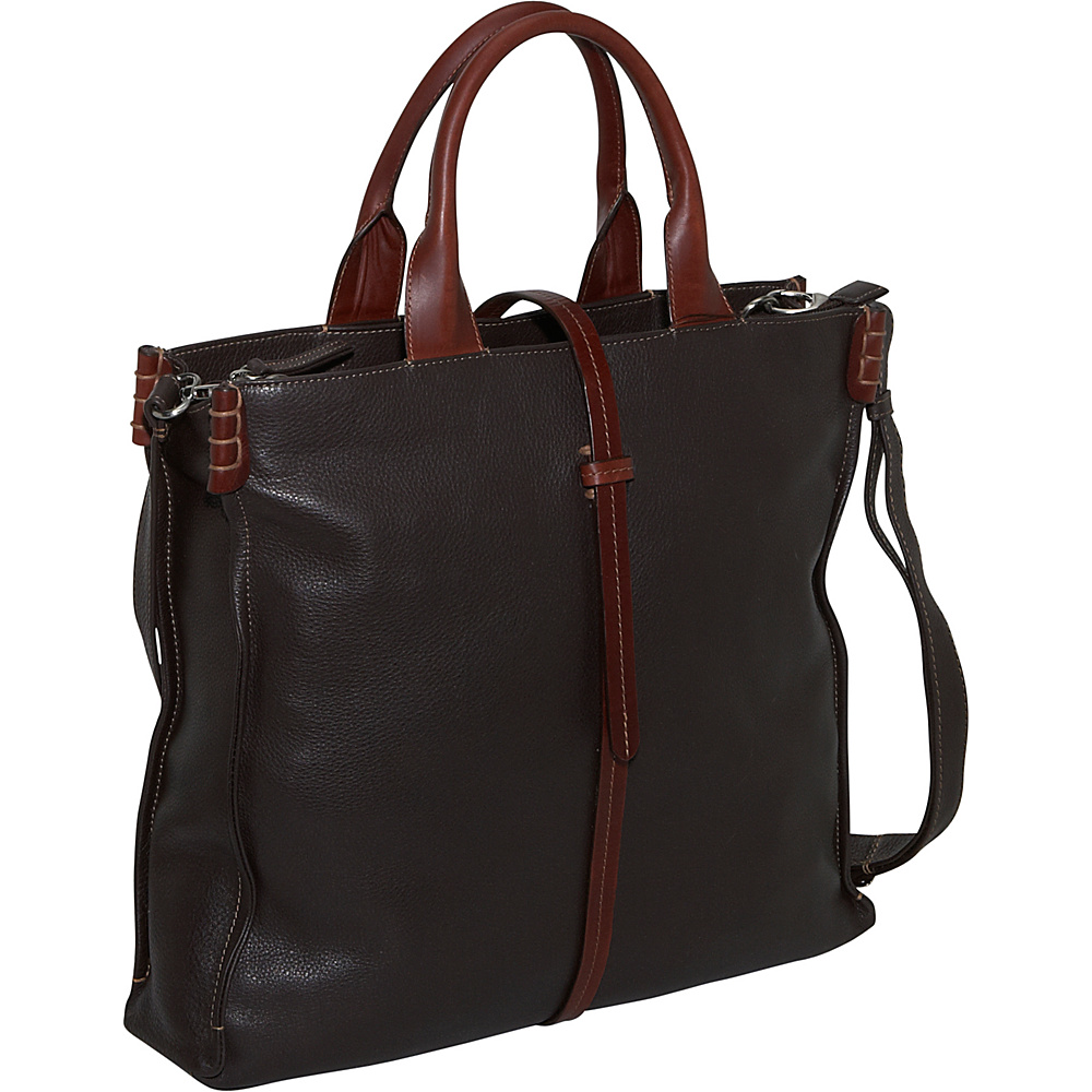 Derek Alexander 3 Comp Large Top Zip - Brown/Brandy - Handbags, Leather Handbags