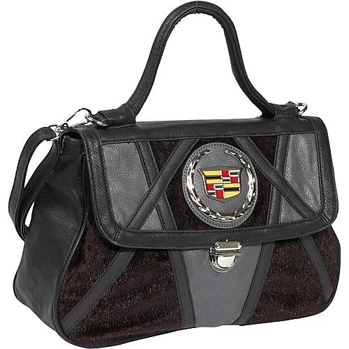 Ashley M Faux Fur and Leather Cadillac Purse - Shoulder Bag