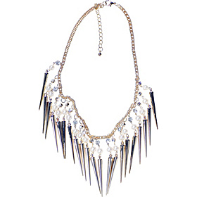 Pearl Crystal Gold Spike Necklace Gold/Crystal/Pearl