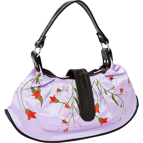 Global Elements Embroidered Silk & Leather Handbag Purple - Global Elements Fabric Handbags