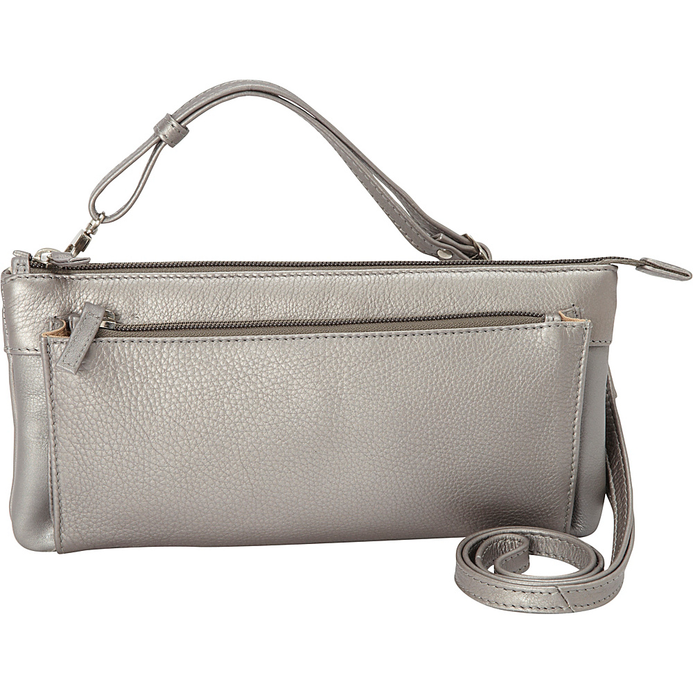 Derek Alexander EW Top Zip Clutch Silver Derek Alexander Leather Handbags