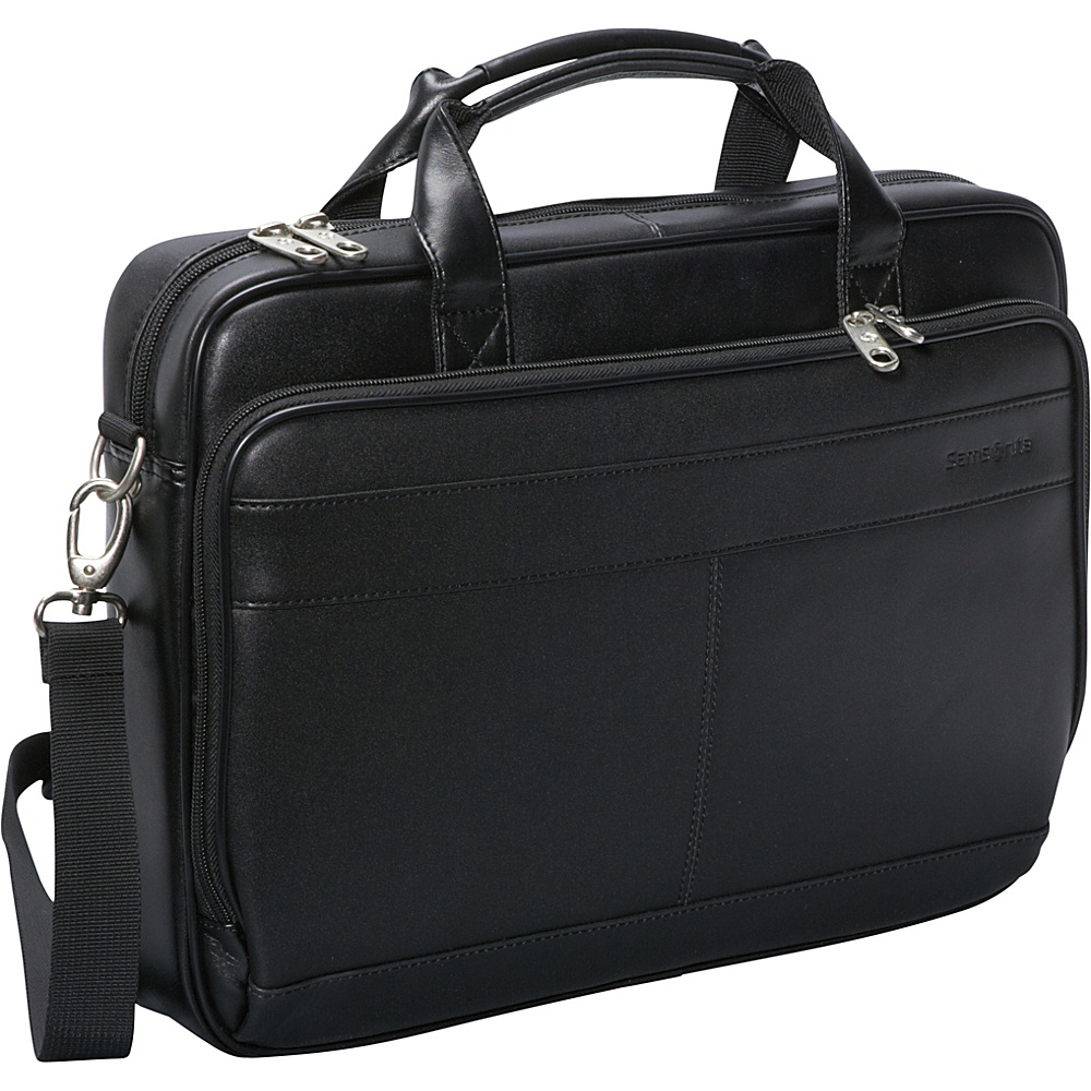 Samsonite Leather Slim Laptop Brief - Black - Work Bags & Briefcases, Non-Wheeled Business Cases
